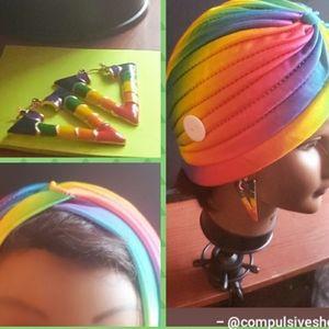 Rainbow 🌈 Turban & Earrings